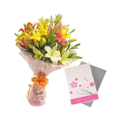 Mixed Lilly Bouquet with Greeting Card