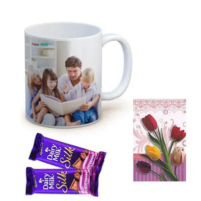 Photo Mug with Cadbury Silk and Greeting Card