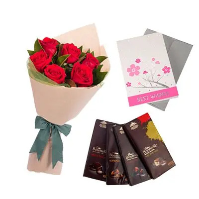 Bournville Chocolates with Flowers and Greeting Card