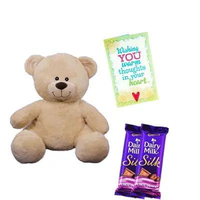 Chocolates with Teddy Bear and Greeting Card