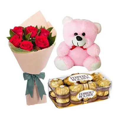 Chocolate with Teddy and Flowers