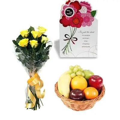 Fresh Fruits Basket with Yellow Roses and Greeting Card