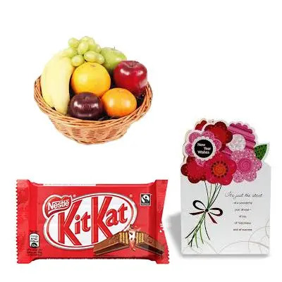 Fresh Fruits Basket with Greeting Cards and Chocolate