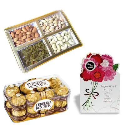 Dry Fruits with Greeting Cards and Ferrero Rocher