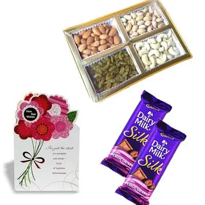 Dry Fruits with Chocolate and Greeting Card