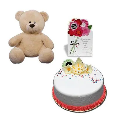 Teddy with Cake and Greeting Card