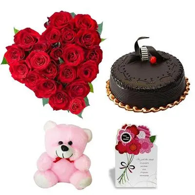 Heart Roses, Cake, Teddy & Greeting Card
