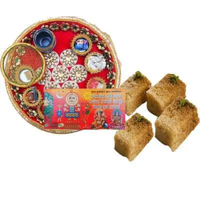 Karwa Chauth Thali with Milk Cake