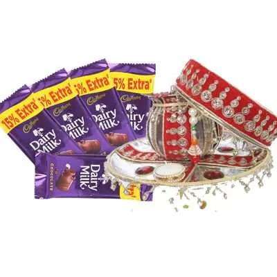 Pooja Thali with Dairy Milk Chocolates