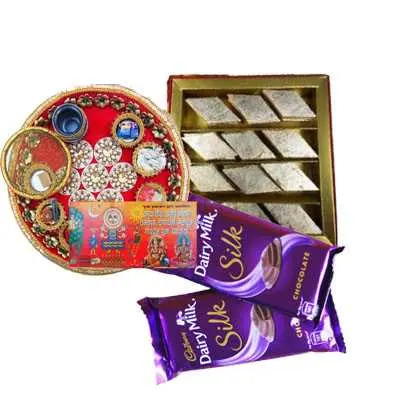 Thali with Kaju Burfi & Dairy Milk
