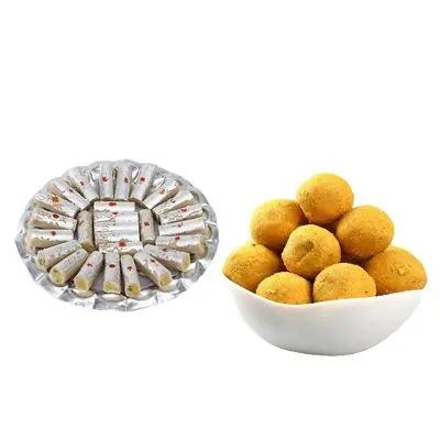 Kaju Roll with Besan Laddu
