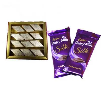 Kaju Burfi with Dairy Milk Silk