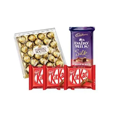 Ferrero Rocher with Dairy Milk Silk and Kitkat Chocolates
