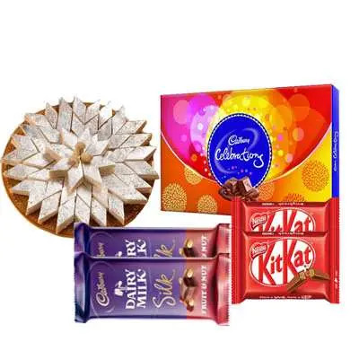 Kaju Katli with Cadbury Celebration, Kitkat & Silk