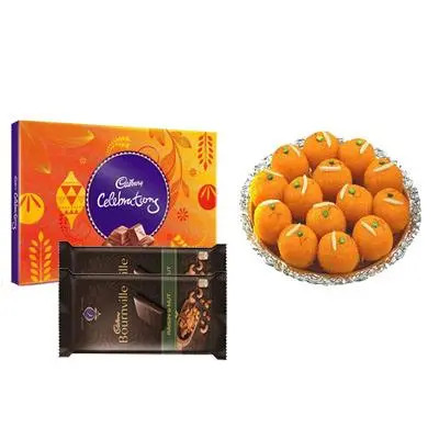 Motichoor Ladoo with Cadbury Celebration & Bournville