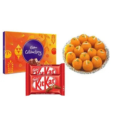 Motichoor Ladoo with Cadbury Celebration & Kitkat