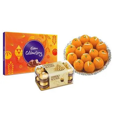 Motichoor Ladoo with Cadbury Celebration & Ferrero Rocher