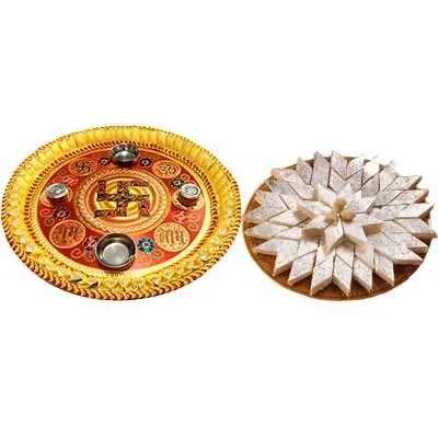 Thali with Kaju Burfi Box