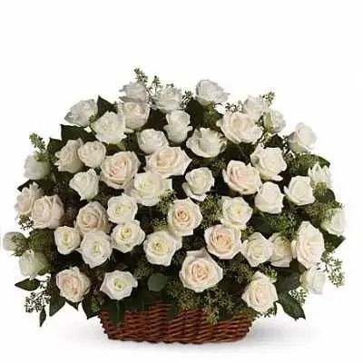 White Roses Big Basket