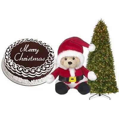 Christmas Chocolate Cake with Christmas Tree & Santa Claus