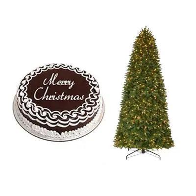 Christmas Chocolate Cake with Christmas Tree