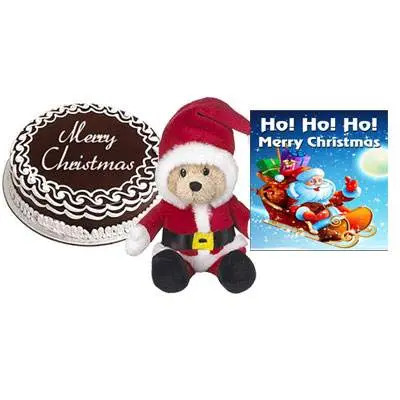 Christmas Chocolate Cake with Santa Claus & Greetng Card