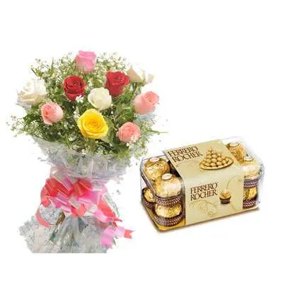 Mix Rose Bouquet with Ferrero Rocher