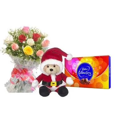 Santa Claus with Mix Roses Bouquet & Cadbury Celebration