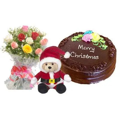 Santa Claus with Mix Rose Bouquet & Chocolate Cake