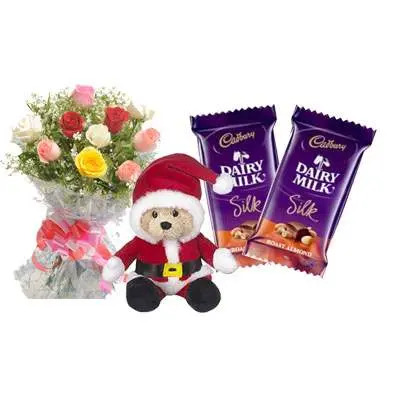 Santa Claus with Mix Roses Bouquet & Dairy Milk