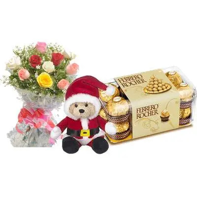 Santa Claus with Mix Roses Bouquet & Ferrero Rocher