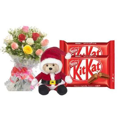 Santa Claus with Mix Roses Bouquet & Kitkat