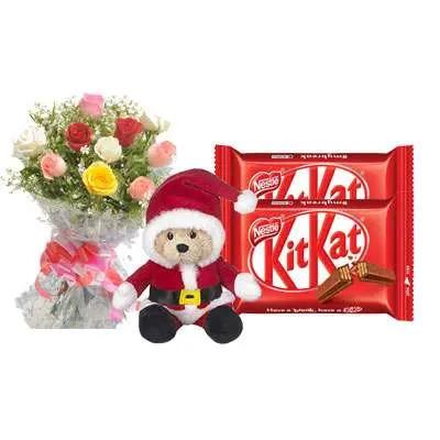 Santa Claus with Mix Roses Bouquet & Kitkat