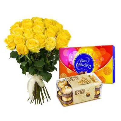 Yellow Roses Bouquet with Cadbury Celebration & Ferrero Rocher