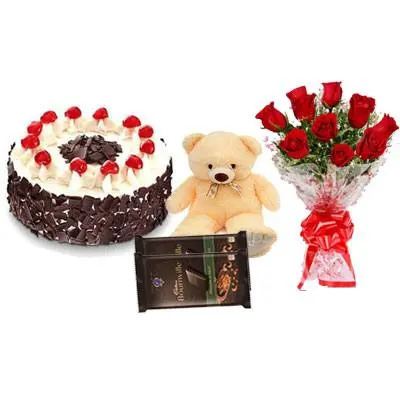 Black Forest Cake with Red Roses Bouquet, Teddy Bear & Bournville
