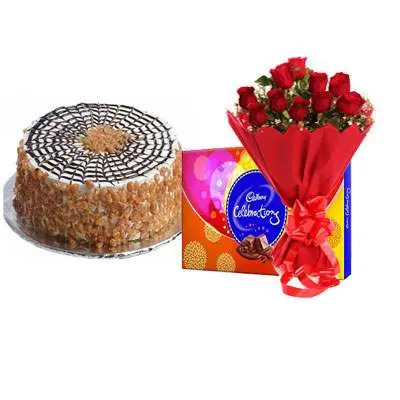 Butter Scotch Cake with Red Rose Bouquet & Cadbury Celebration