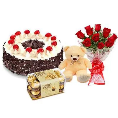 Black Forest Cake with Red Roses Bouquet, Teddy Bear & Ferrero Rocher