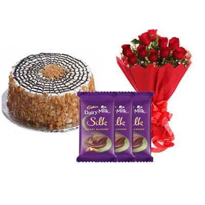 Butter Scotch Cake with Red Rose Bouquet & Dairy Milk