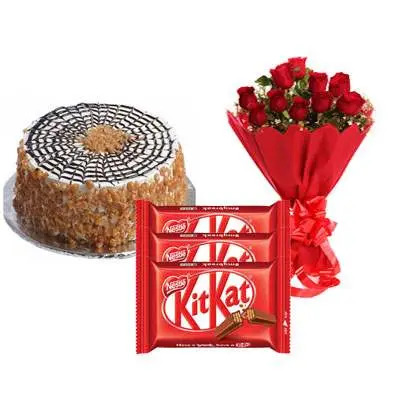 Butter Scotch Cake with Red Roses Bouquet & Kitkat