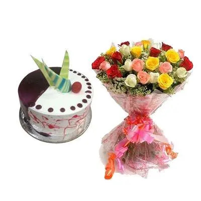 Choco Vanilla Cake with Mix Roses Bouquet