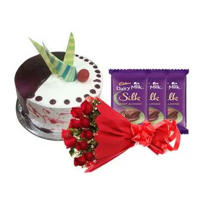 Choco Vanilla Cake with Red Roses Bouquet & Dairy Milk Silk