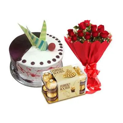 Choco Vanilla Cake with Red Roses & Ferrero Rocher