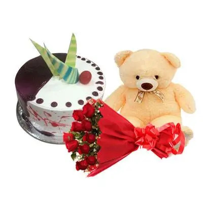 Choco Vanilla Cake with Red Roses & Teddy