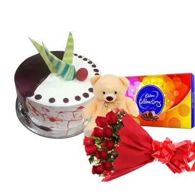 Choco Vanilla Cake with Red Roses, Celebration & Teddy