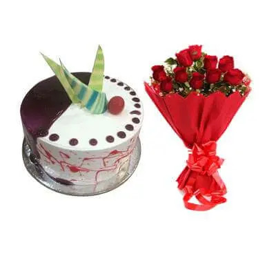Choco Vanilla Cake with Red Roses Bouquet