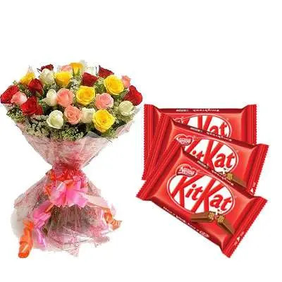 Mix Roses Bouquet with Kitkat