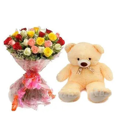 Mix Roses Bouquet with Teddy Bear