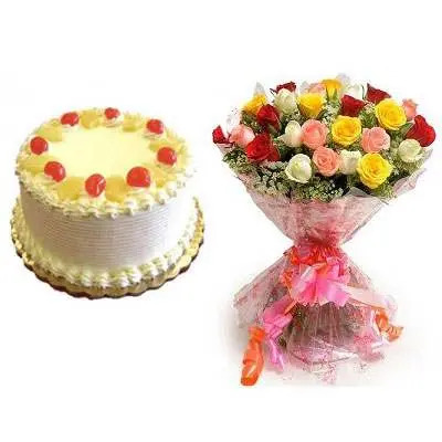 Pineapple Cake with Mix Roses