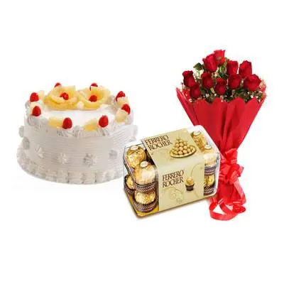 Pineapple Cake with Red Roses & Ferrero Rocher
