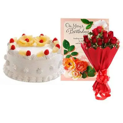 Pineapple Cake with Red Rose & Greeting